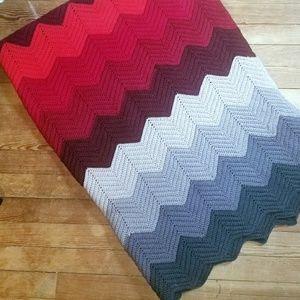 70s style Chevron crocheted Afghan blanket